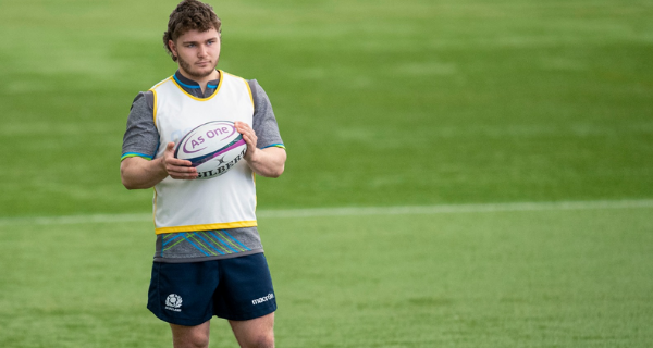 Duncan Hood playing for Scotland Under-20