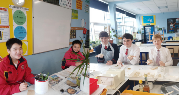 Children painting Chinese Calligraphy on plant pots and making traditional Chinese dumplings