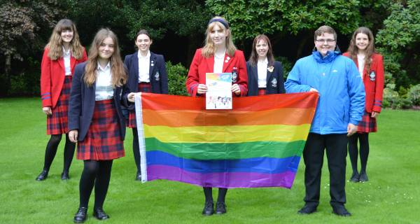 MES LGBT group with gold charter award