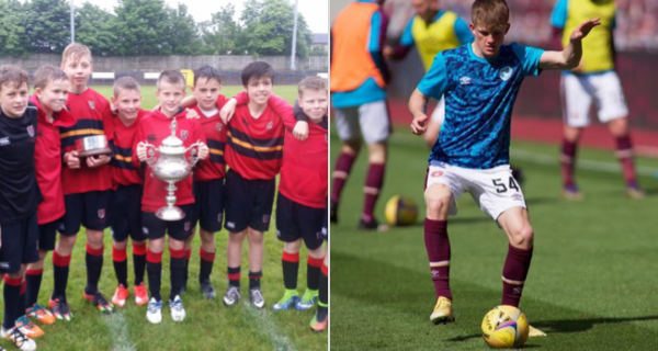 Finlay Pollock playing for SMC in P7, next to himself now representing Hearts F.C.