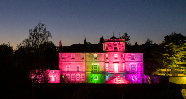 Ravelston House lights up with a rainbow
